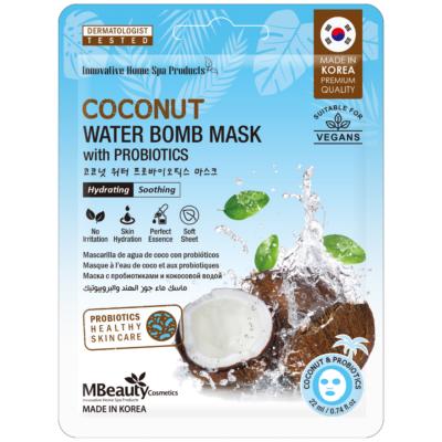 """Nawilżająca maska """"Bomba wodna"""" z wodą kokosową iprobiotykami natkaninie"""
