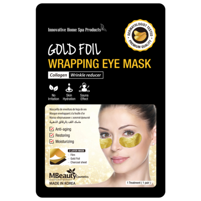 Gold foil wrapping eye mask