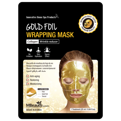 Gold foil wrapping face mask
