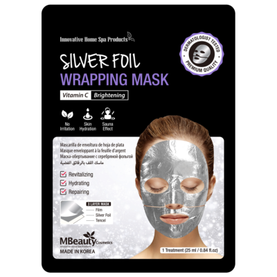 Silver foil wrapping face mask