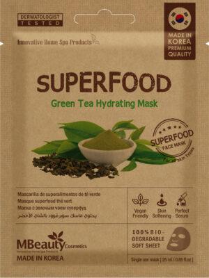 Nawilżająco-odmładzająca maseczka na tkaninie Superfood – zielona herbata